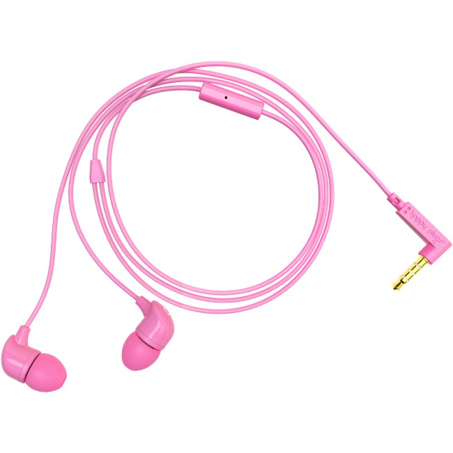Happy Plugs Earset - Stereo - Pink - Mini-phone - Wired - 16 Ohm - 20 Hz - 20 kHz - Gold Plated - Earbud - Binaural - In-ear - 3.94 ft Cable