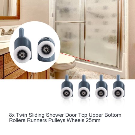 8 x twin bottom top shower door rollers pulleys wheels runners