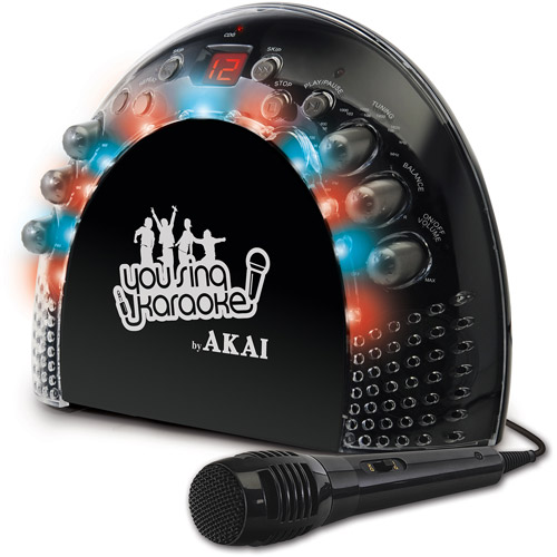 Akai KS201 Front Load Karaoke System with LED Light Effects and AM/FM Radio