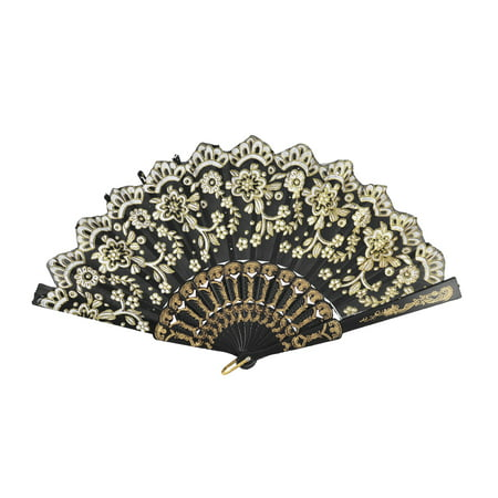 Summer Women Party Plastic Handle Flower Print Folding Hand Fan Black White - Plastic Hand Fans