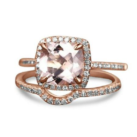 Perfect 2 Carat Cushion Cut Morganite and Diamond Halo Bridal Ring Set in Rose (2 Carat Cushion Cut Diamond Actual Size)