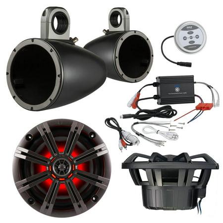 Marine Speaker Package With Amp: 2x Kicker 41KM84LCW 8