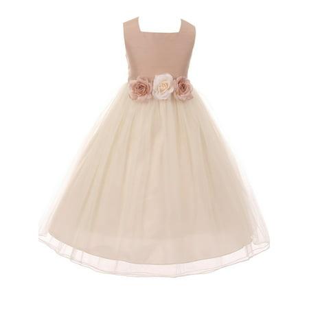 Classic Silk Bodice Elegant Waist Little Girl Graduation Flower Girls Dresses (42KD8) Vintage Rose 2 ()