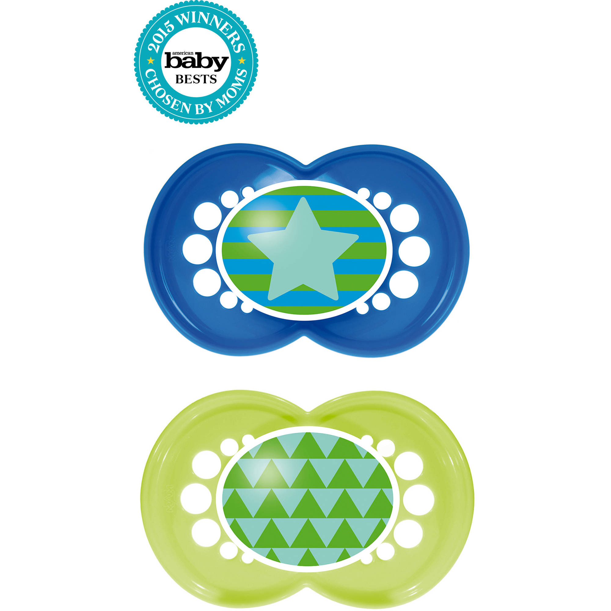 MAM Trends Orthodontic Pacifier, 6+ Months, 2-Count, Boy