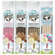 Milk Magic Magic Milk Flavoring Straws 36 Straws Flavors:Cookies and Cream, Chocolate, Strawberry,Cotton Candy