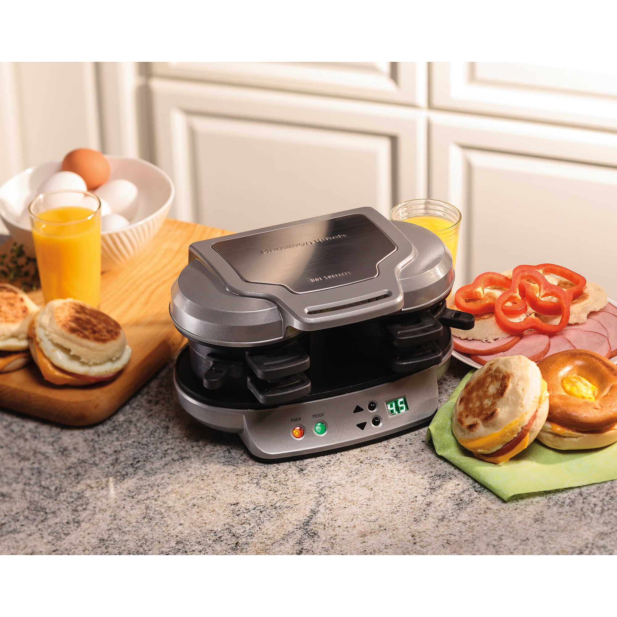 Breakfast Sandwich Maker Dual Hot Plate Cook Food Countertop Press ...