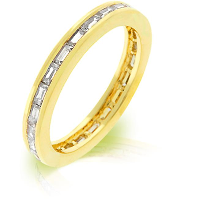 Kate Bissett R08022G-C01-07 18k Gold Plated Stacker Eternity Ring featuring Channel Set Clear CZ Baguettes Embeded in