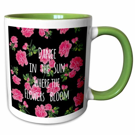 3dRose Dance in the sun where the flowers bloom - pink girly fun positive words - vintage summer joy - Two Tone Green Mug, 15-ounce - Broom Dance