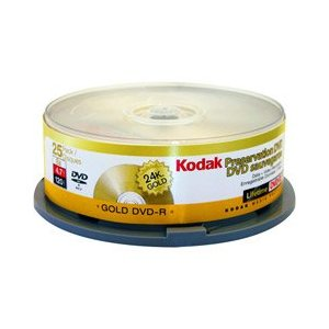 Kodak DVD-R, 4.7GB, 24K Gold Layered, Branded, 25/Spindle