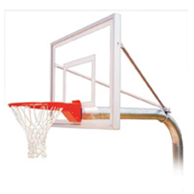 RuffNeck III Steel-Acrylic In Ground Fixed Height Basketball System, Navy Blue
