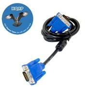 HQRP 5ft. 1.5m VGA / SVGA / Super VGA 15-pin HD15 (M/M) Cable / Cord for TV / PC Monitor / LCD monitor / Projector / Display plus HQRP Coaster
