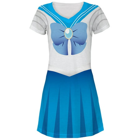 Anime Mercury Sailor Costume All Over Juniors V-Neck Dress - Anime This Is Halloween