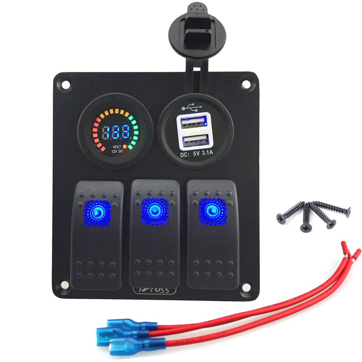 Blue 3 Gang Car Rocker Switch Panel USB Socket Power Plug...