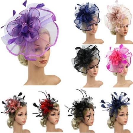 Women´s Hair Accessory Clip Feather Mesh Wedding Bridal Party Fascinator Hat (Top Hat Fascinators)