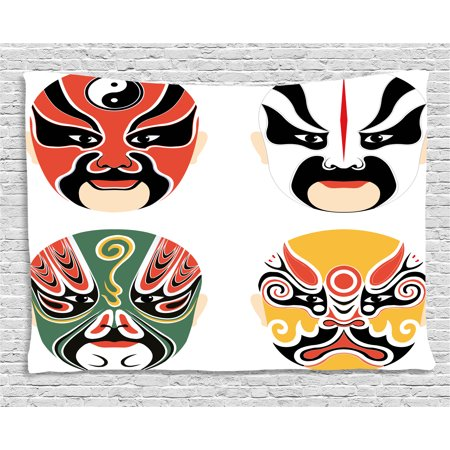 Cultural Costumes (Kabuki Mask Decoration Tapestry, Cultural Drama Costumes Artistic Orient Masks Ethnic Mystic Details, Wall Hanging for Bedroom Living Room Dorm Decor, 60W X 40L Inches, Multicolor, by)
