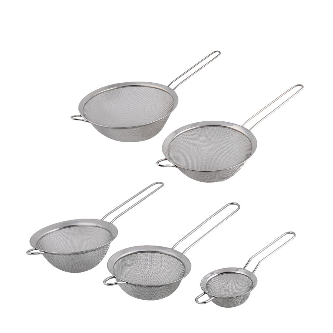 Kitchen Cookware Chef Metal Oil Flour Mesh Strainer Colander Sieve Sifter 5 in 1 by Unique-Bargains
