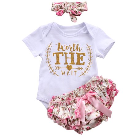 3PCS/Set Cute Newborn Baby Girl Worth The Wait Bodysuit Romper+Ruffles Tutu Skirted Shorts And Headband Outfits