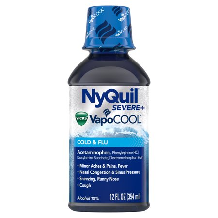 NyQuil SEVERE with Vicks VapoCOOL Cough, Cold & Flu Relief, 12 Fl Oz - Relieves Nighttime Sore Throat, Fever, and Congestion, Count: