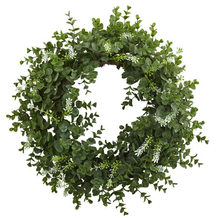 Nearly Natural 18 in. Eucalyptus Double Ring Wreath with Twig Base - Wreath Rings
