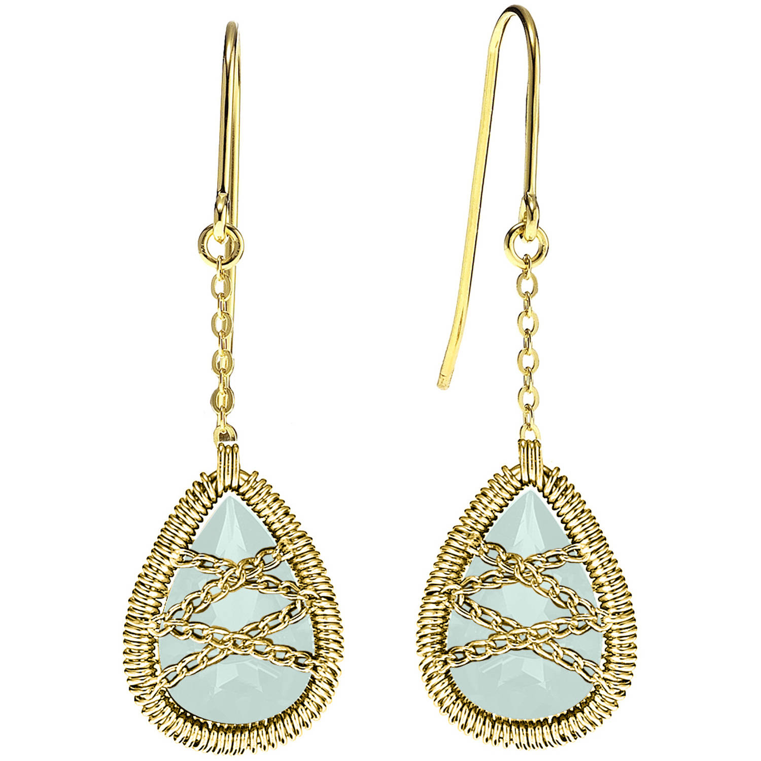 Image of 5th & Main 18kt Gold over Sterling Silver Hand-Wrapped Dangle Teardrop Chalcedony Stone Earrings