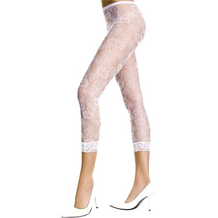 Music Legs 35046-WHITE Floral Lace Sheer Spandex Leggings, White - image 1 of 1