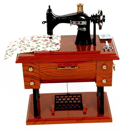 Vintage Mini Sewing Machine Style Plastic Music Box Table Desk Decoration Toys - Heart Style Music Box