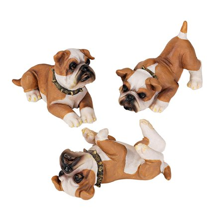 Design Toscano Stop, Drop and Roll British Bulldog Puppy Statues: Set of Three