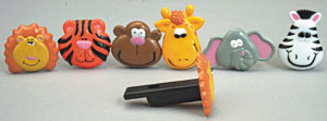 12 pk Zoo Animal Whistles Assorted Cake Adornments (2 inch)