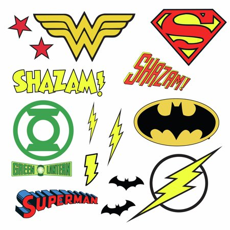 DC COMICS SUPERHERO LOGOS 16 Wall Decal Superman Batman Room Decor Stickers - Super Hero Stickers
