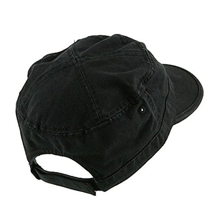 Whole Sale Hats (Wholesale Enzyme Washed Cotton Army Cadet Castro Hats  Black    20766  One Size Black One)