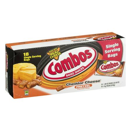 Cheddar Pretzel - Combos, Baked Snacks, Cheddar Cheese Pretzel Singles, 18 Ct
