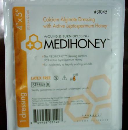 MEDIHONEY Calcium Alginate Dressing  4 X 5 Inch Rectangle Calcium Alginate / Active Leptospermum Box of 10