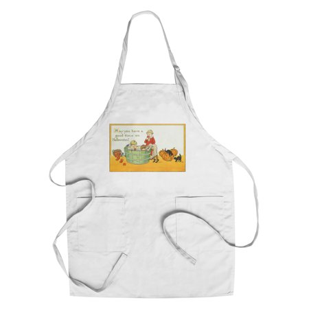 Halloween Scene of Kids Bobbing for Apples (Cotton/Polyester Chef's Apron) (Bobbing Apples Halloween)