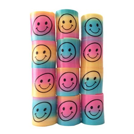 Mini Smiley Face Magic Slinky Rainbow Springs Colorful Assorted Children