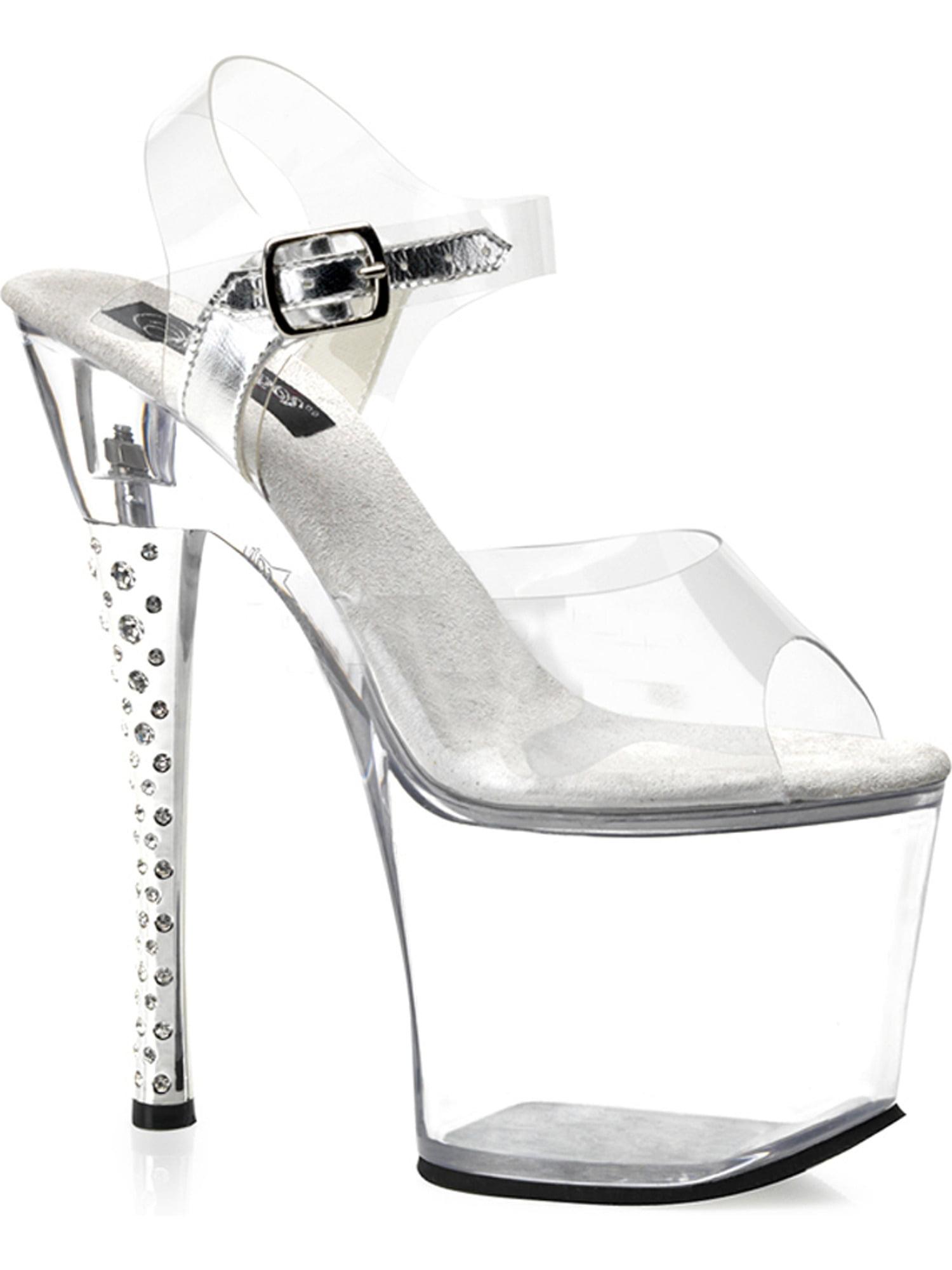 7 Inch Sexy Platform Shoes Rhinestone Heel High Platform Clear Sandals