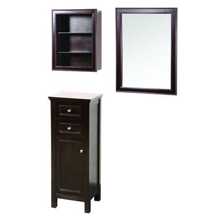 Foremost Gaem2432combo Gazette 42 L X 16 W Wall Mirror And Wall Cabinet W Shelves And Floor