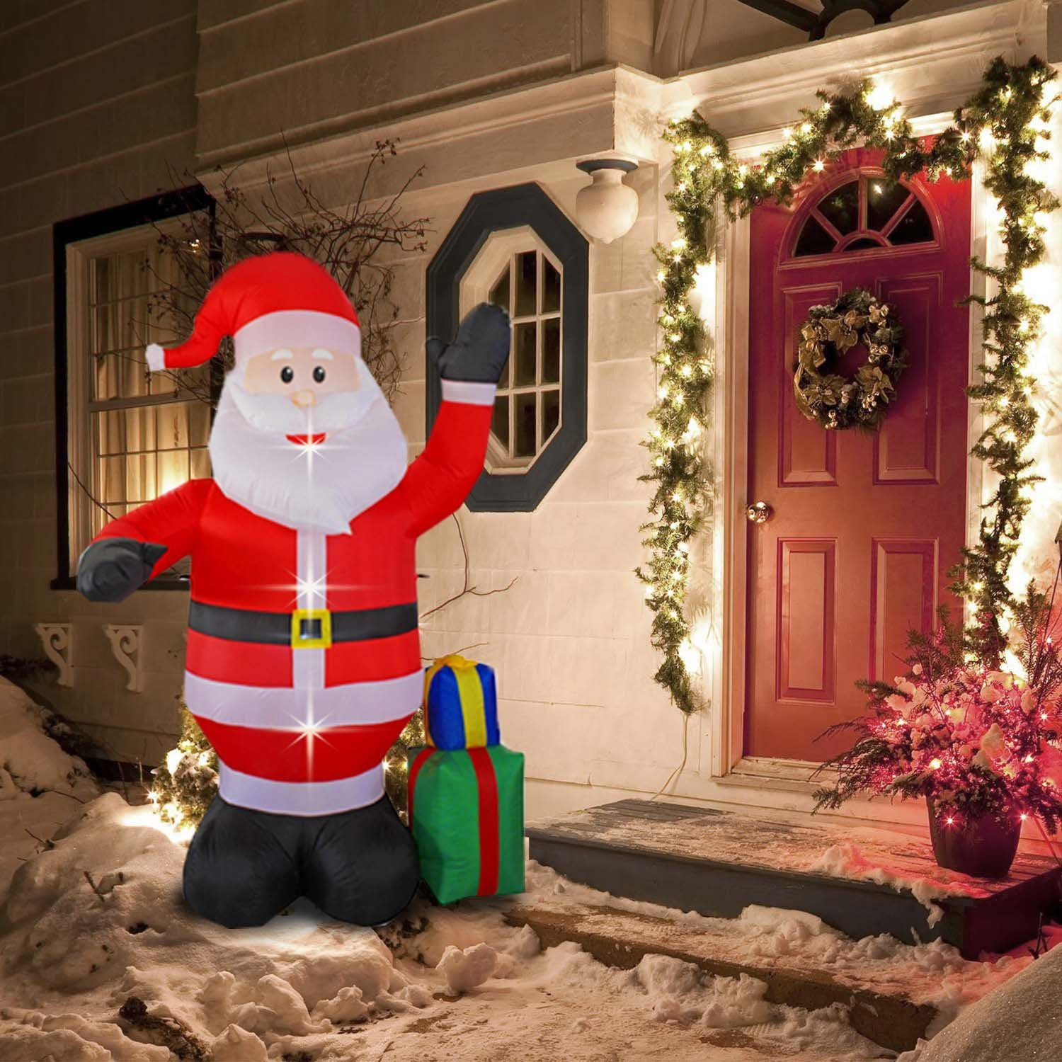 8 Foot Inflatable Portable Christmas Santa Claus Xmas Indoor Outdoor Lawn Yard Decoration Place Box Beside Foot