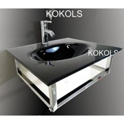 Kokols Glass Rectangular Vessel Bathroom Sink with Faucet