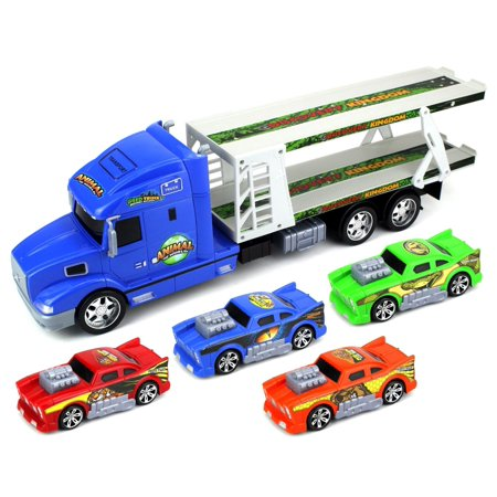 Toy Car Transporter (Animal World Car Trailer Children's Friction Toy Transporter Truck Ready To Run 1:24 Scale w/ 4 Toy Cars (Colors May Vary))
