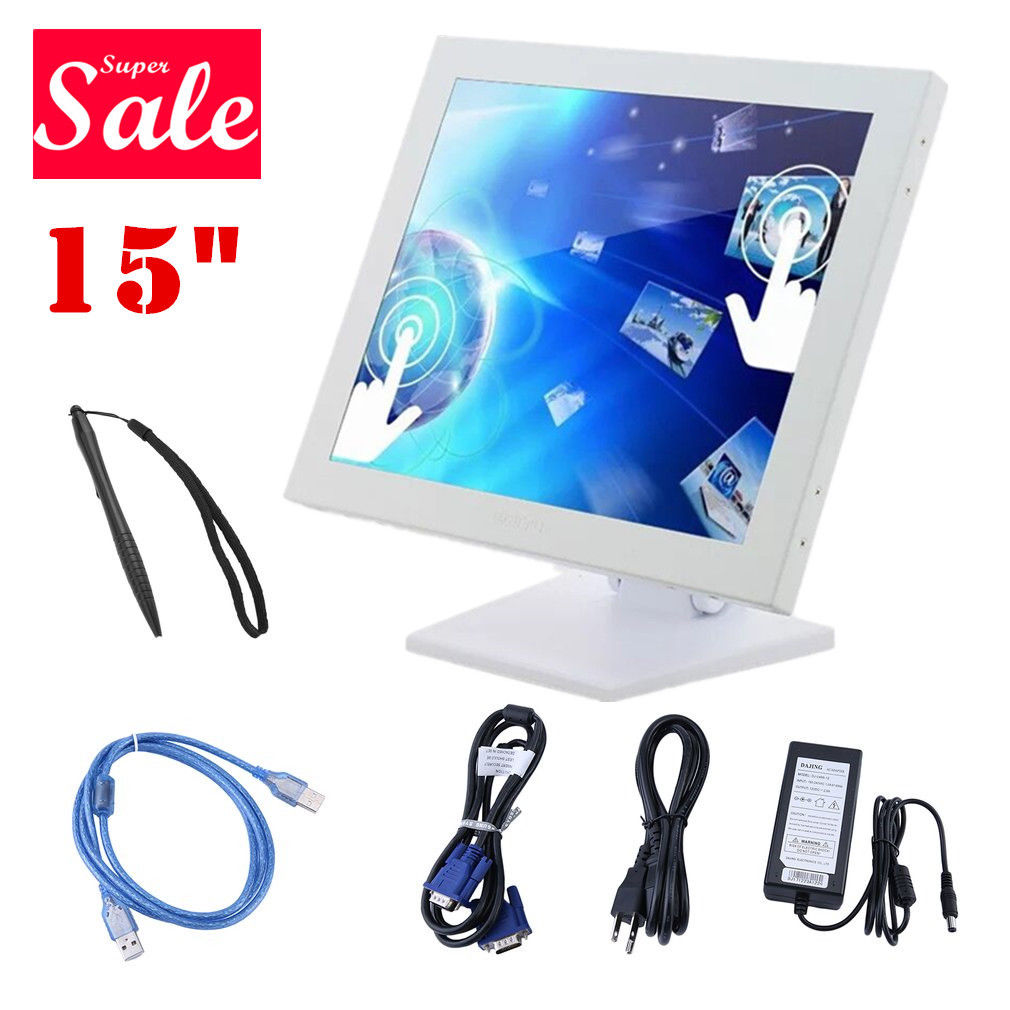 LED Monitor 15-Inch Touch Screen Display, Touch Screen LCD Monitor for Restaurant PC Bar Coffee Store Menu Order Point of Sale