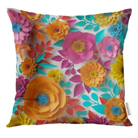 USART 3D Render Digital Colorful Flowers Spring Summer Floral Bouquet White Vibrant Colors Mint Pink Orange Pillow Case 16x16 Inches Pillowcase