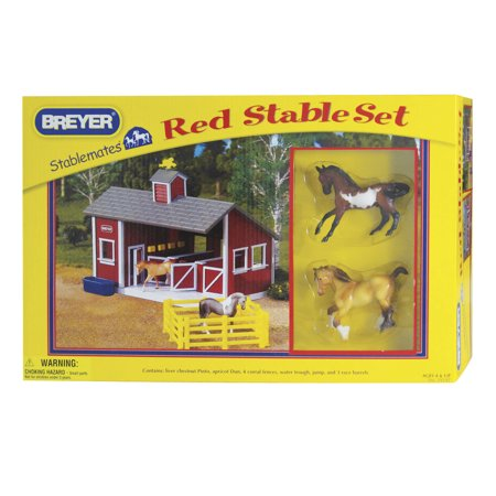 Breyer Stablemates Red Stable And Horse Set 1 32 Scale