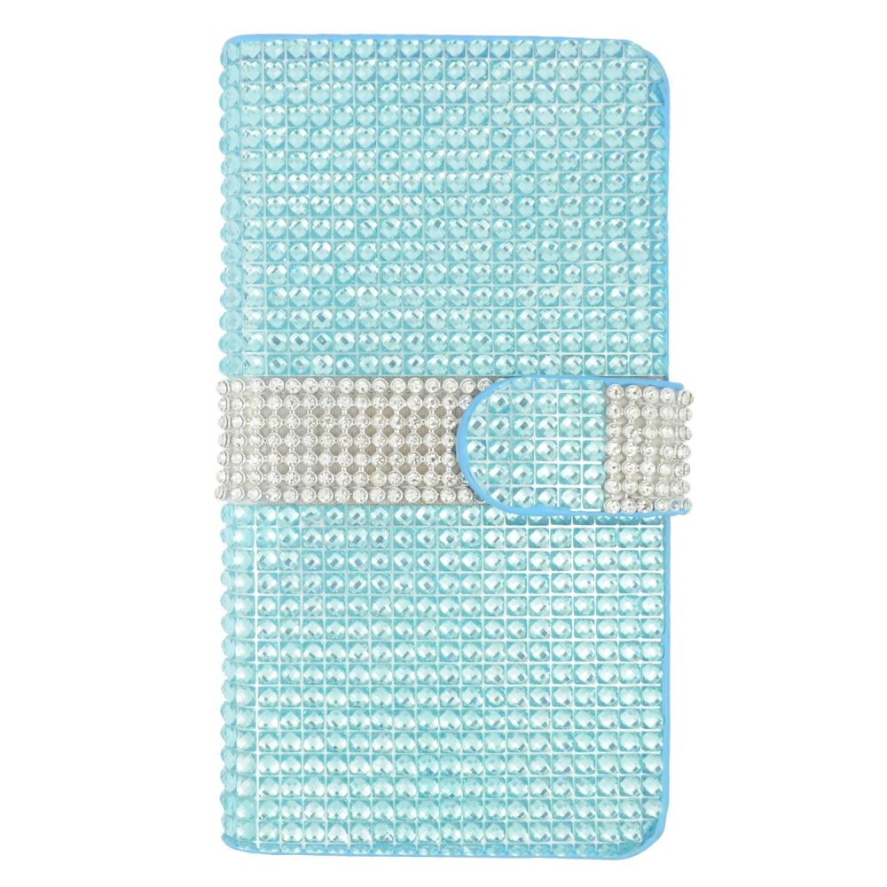 Insten Leather Wallet Rhinestone Case with Card slot For Samsung Galaxy S6 Edge Plus - Light Blue/Silver - image 3 of 3