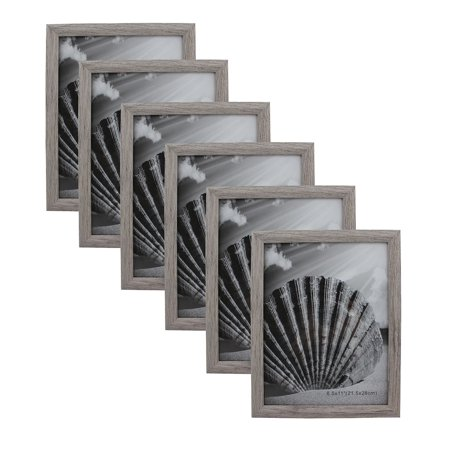 Document Picture Frame MDF Wood 8.5 X 11 Grey With Glass Panel Stand Vertical Or Horizontal Wall Mount For wall Hanging (6-Pack) ()