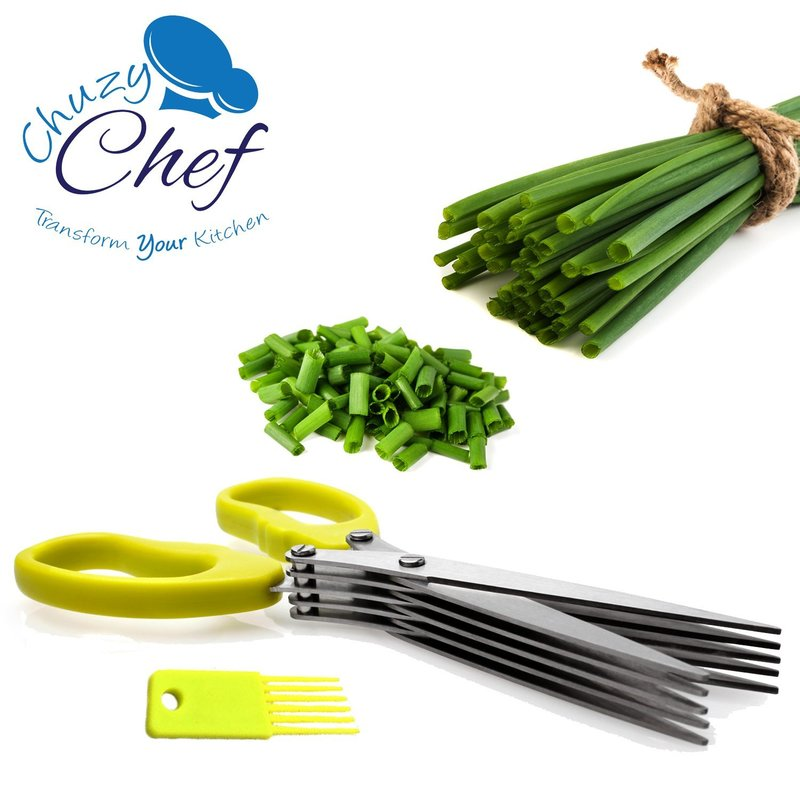 Herb Scissors Multipurpose Kitchen Shears Stainless Steel 5 Blade with Cleaning Brush Chuzy Chef by