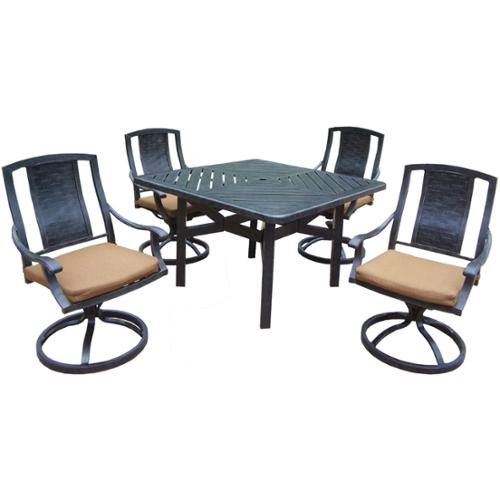 Oakland Living Corporation Oakland Living Sunbrella Aluminum 5-piece Swivel Rocker Dining Set