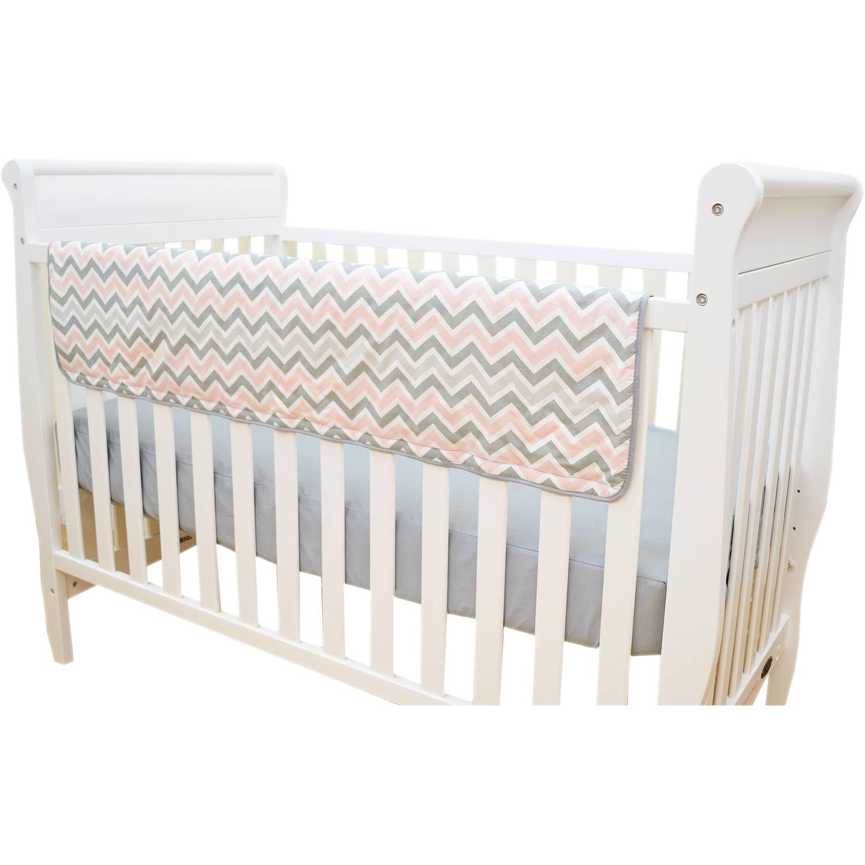 TL Care Crib Rail Cover, Pink Zigzag