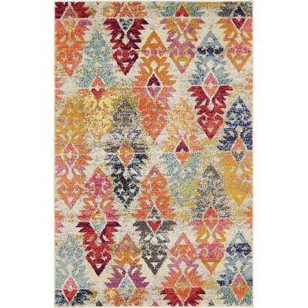 Contemporary Sierra Collection Area Rug In Rainbow Color