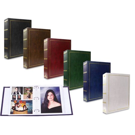 2-Pack Pioneer LM-100 Leatherette Magnetic 3-Ring Photo Album with Gold Stamped Cover - Black