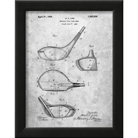 Golf Club Driver Patent Framed Print Wall Art By Cole Borders ...